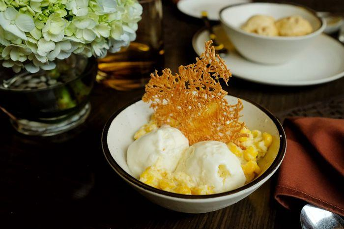 Condensed Milk Ice Cream with Creamed Corn & Cheddar Crisp - Gupta Sitorus & Primo Rizky