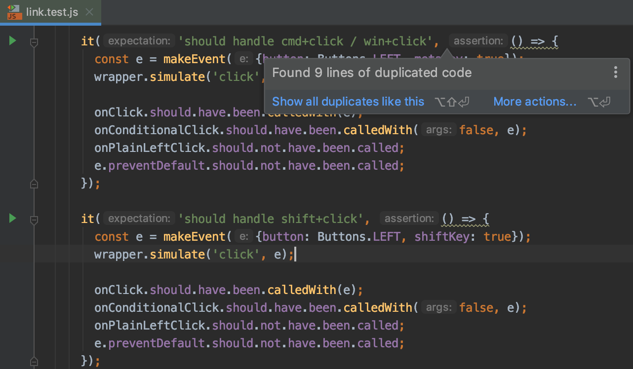 WebStorm 2019 2 EAP #3: detect duplicate code, use Node js