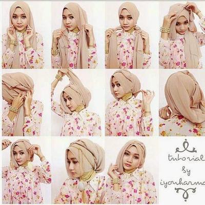 Tutorial Hijab Segi Empat Menutup Dada Ala Ria Ricis
